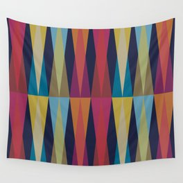 Party Argyle on Navy Blue Wall Tapestry