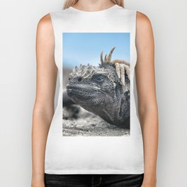 Funny rasta hair marine iguana Biker Tank