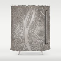 budapest Shower Curtains featuring papercut - Budapest by Colin Kiss