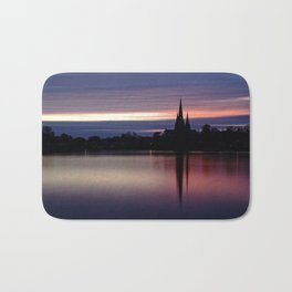 Pink Sky Over The Lichfield Cathedral Bath Mat