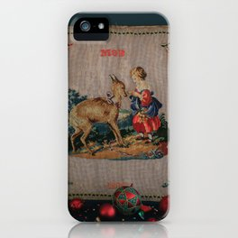 Sweet Antique Sampler about Love, Girl Feedig a Roe Deer. Made in 1892 iPhone Case