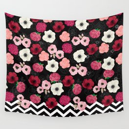 Chevron Flowers Wall Tapestry