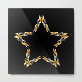 A decorative Celtic fractal flower in metallic colors Metal Print