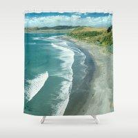 new zealand Shower Curtains featuring Raglan beach, New Zealand by Bruce Stanfield