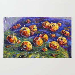 Oil painting Apples in river Rug
