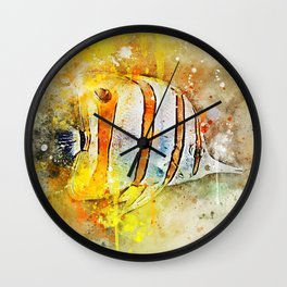 Yellow butterfly fish painted in bursting watercolor! Wall Clock