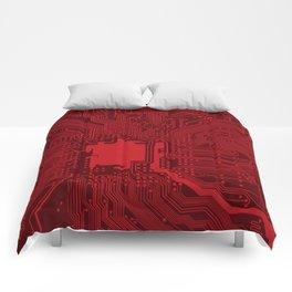 Red Geek Motherboard Circuit Pattern Comforters