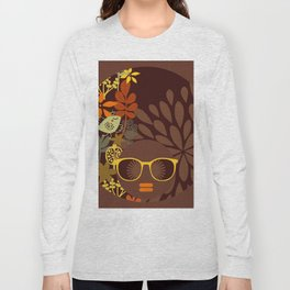 Afro Diva : Sophisticated Lady Retro Brown Long Sleeve T-shirt