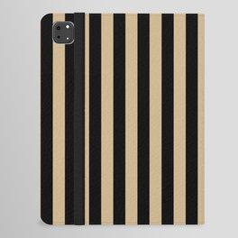 Tan Brown and Black Vertical Stripes iPad Folio Case
