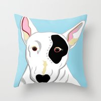 bull terrier Throw Pillows featuring Bull Terrier by EloiseArt