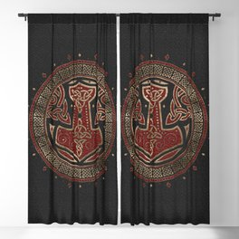 The hammer of Thor Black Red Leather and gold Blackout Curtain