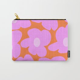 Pastel Pink Retro Flowers Orange Background #decor #society6 #buyart Carry-All Pouch