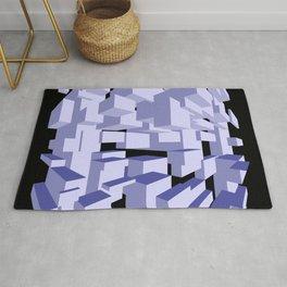 Three-dimensional cubes on black background. Rug