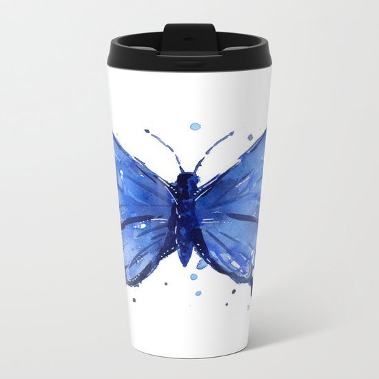 Butterfly Blue Watercolor Animal Painting Metal Travel Mug