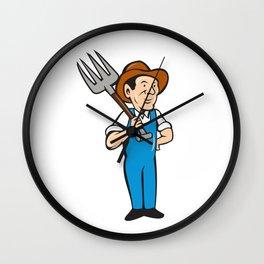 Farmer Pitchfork Shoulder Standing Cartoon Wall Clock