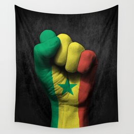 Senegal Flag on a Raised Clenched Fist Wall Tapestry