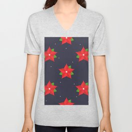 Poinsettia Christmas Pattern Unisex V-Neck