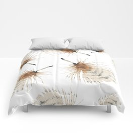 Delicate Brown Feather Seamless Pattern Comforters
