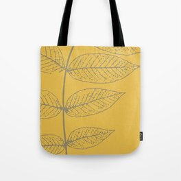 Leaves, Gray and Yellow Ochre Tote Bag