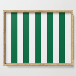 Cadmium green - solid color - white vertical lines pattern Serving Tray