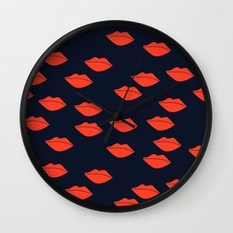 Red Lips on Navy Blue Background Wall Clock