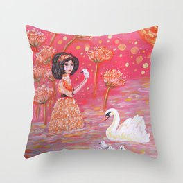 The Swan Girl Throw Pillow