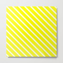 Neon Yellow Diagonal Stripes Metal Print