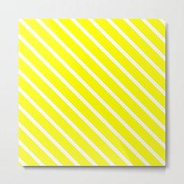 Neon Yellow Diagonal Stripes Metal Print