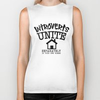 psychology Biker Tanks featuring Introverts Unite! by Rendra Sy