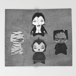 A Boy - Universal Monsters Black & White édition Throw Blanket