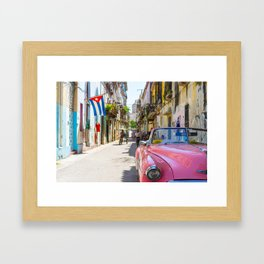 Colorful building streets in Cuba Framed Art Print
