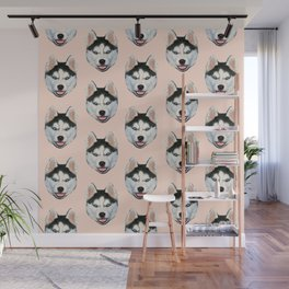 cute puppy husky dog pattern Wall Mural