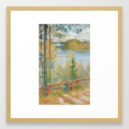 ALBERT EDELFELT, LAKE LANDSKAPE FROM KAUKOLA, SAARIS Framed Art Print
