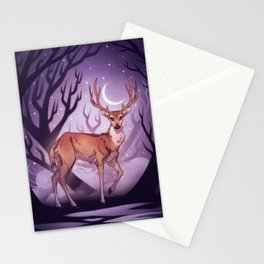 Forest Guardian - Deer in a moonlit forest with crescent moon Stationery Cards