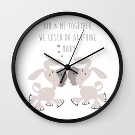 Donkey Couple Together - You and me together we could do anything baby - Happy Valentines Day Wall Clock