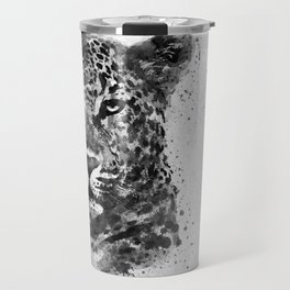 Black And White Half Faced Leopard Travel Mug