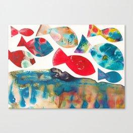 I Catch Eight Fish, Splash  Splash Splash Canvas Print