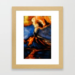 Volcanic eruption. abstract pastel drawing on black background Framed Art Print