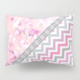 Pink gray chevron watercolor paint brushstrokes Pillow Sham