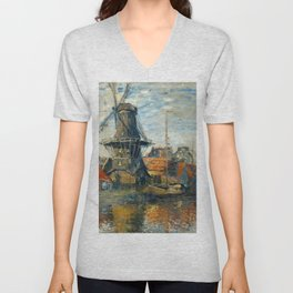 "Claude Monet ""The Windmill, Amsterdam"", 1871 Unisex V-Neck"