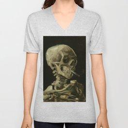 Skull of a Skeleton with Burning Cigarette Painting by Vincent van Gogh Unisex V-Neck