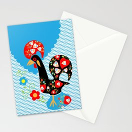 Portuguese Rooster of Luck with blue dots Stationery Cards