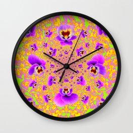 PURPLE-LIME MODERN ART PURPLE-GOLDEN PANSIES Wall Clock