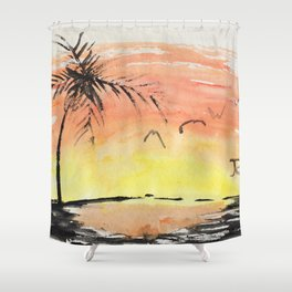 A Simple Sunset Shower Curtain