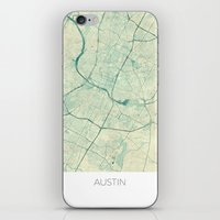 austin iPhone & iPod Skins featuring Austin Map Blue Vintage by City Art Posters