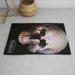 Hamlet by William Shakespeare Theatrical Play Advertising Skull Vintage Poster Rug