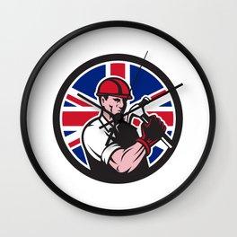 British Handyman Union Jack Flag Icon Wall Clock