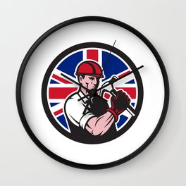 British Handyman Union Jack Flag Icon Wall Clock