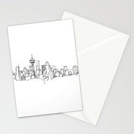 Seattle Skyline Drawing Stationery Cards