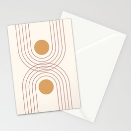Mid Century Modern Geometric 51 in Terracotta Gold Beige Stationery Cards